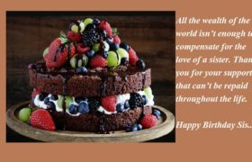 Chocolate Birthday Cake Wishes For Sister