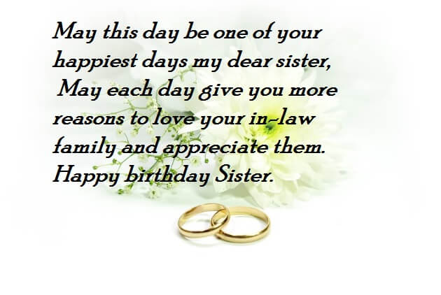 Happy Birthday Wishes For Sister After Her Marriage