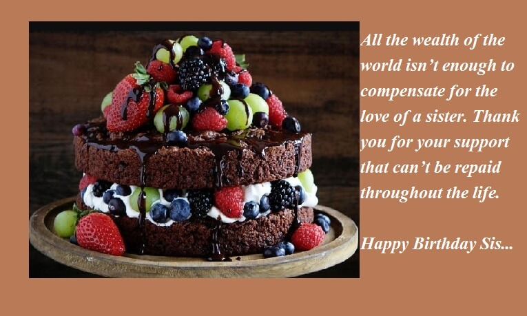 Admirable Birthday Wishes For Sister With Chocolate Cake Best Wishes Funny Birthday Cards Online Fluifree Goldxyz