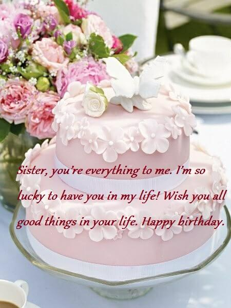 Sensational Sweet Birthday Cake Wishes Messages For Sister Best Wishes Personalised Birthday Cards Paralily Jamesorg